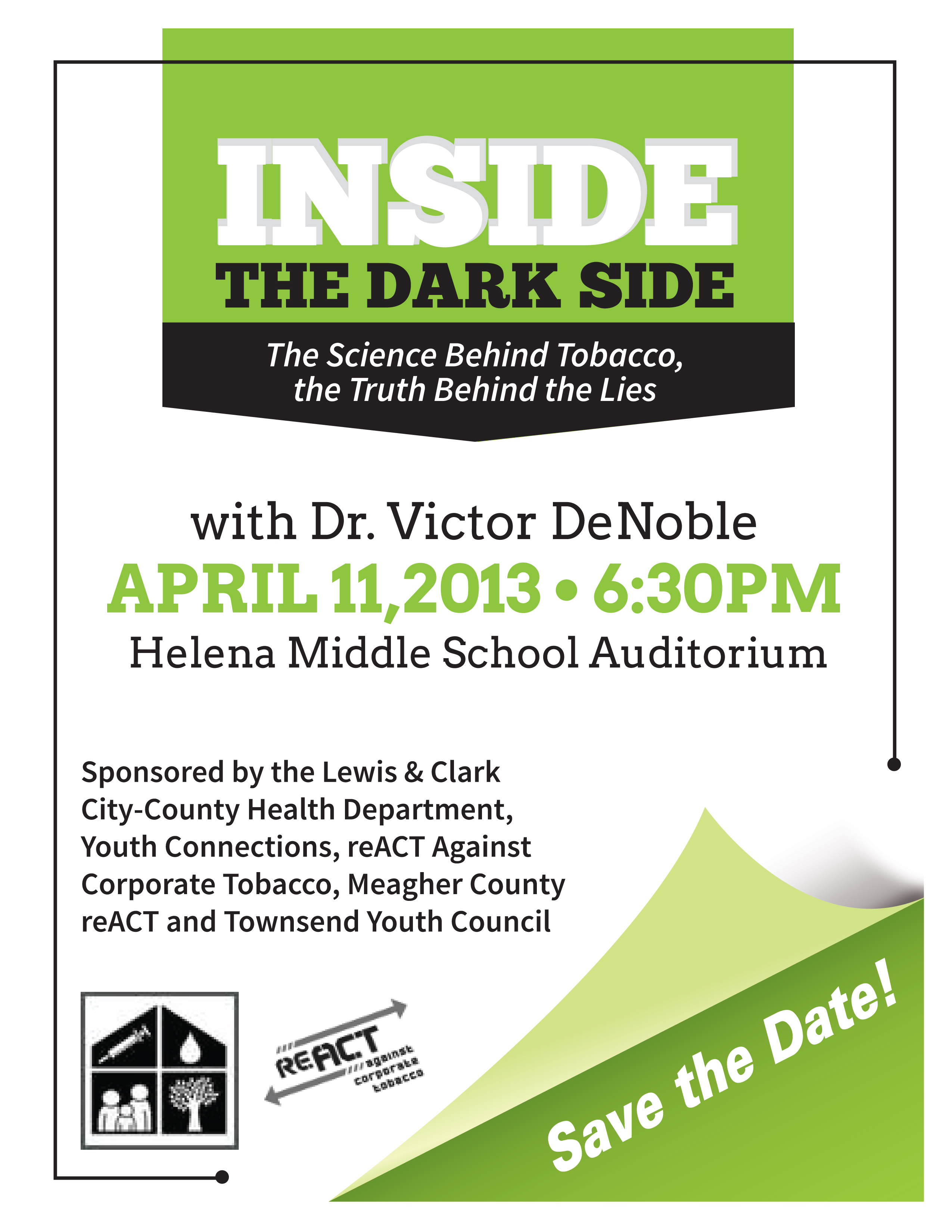 Victor DeNoble at Helena Middle School April 11 - Free to All